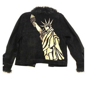 Beautiful hand painted black suede jacket